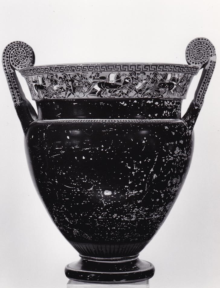 Μελανόμορφος κρατήρας, εύρημα του Ν. Ζαφειρόπουλου από τη Σελλάδα Θήρας, β' μισό 6ου αι. π.Χ.
